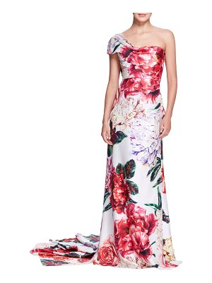 Marchesa Floral-Print One-Shoulder Silk Gown