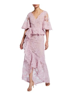 Marchesa Flutter-Sleeve Lace Gown