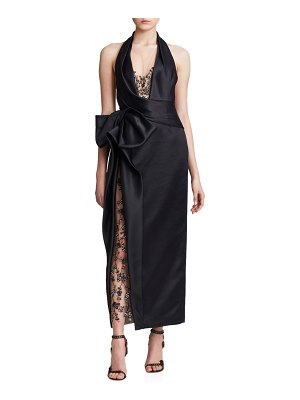 Marchesa Halter-Neck Tea Length Gown
