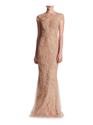 Marchesa Illusion Neckline Metallic Outlined Wheat and Leaf Threadwork Embroidered Tulle Column Gown