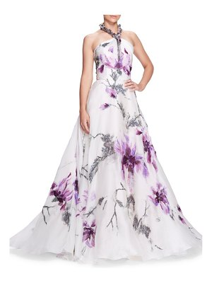 Marchesa jeweled halterneck floral ball gown