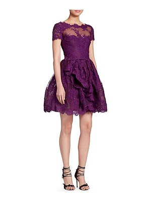 Marchesa lace & mesh cocktail dress