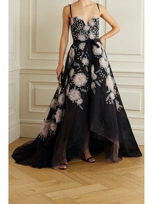 Marchesa layered grosgrain-trimmed embellished fishnet and tulle gown