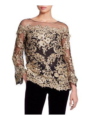 Marchesa Long-Sleeve Metallic Corded-Lace Evening Blouse