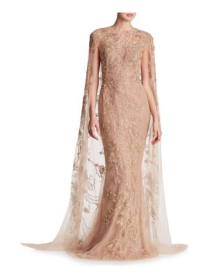 Marchesa Metallic-Embroidered Floor-Length Cape