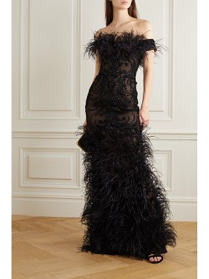 Marchesa off-the-shoulder feather and crystal-embellished embroidered tulle gown