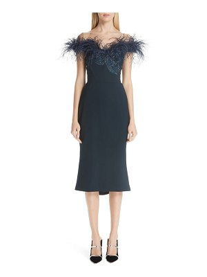 Marchesa off the shoulder feather cocktail dress