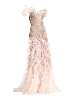 Marchesa off-the-shoulder feather gown