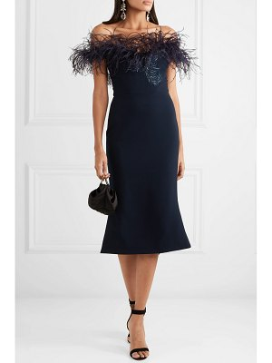 Marchesa off-the-shoulder feather-trimmed sequined cady midi dress