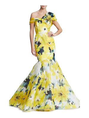 Marchesa off the shoulder floral print mermaid gown