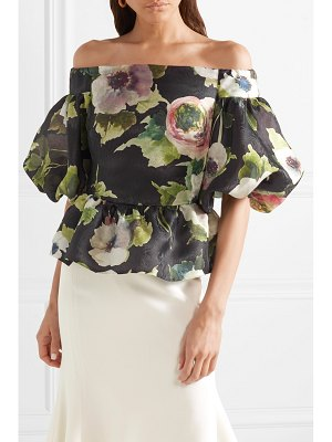 Marchesa off-the-shoulder floral-print silk-moire peplum top