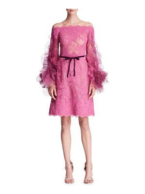 Marchesa Off-the-Shoulder Organza-Sleeves Corded Lace Cocktail Dress