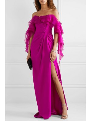 Marchesa off-the-shoulder ruffled organza and silk-crepe gown