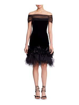 Marchesa Off-the-Shoulder Velvet Cocktail Dress w/ Flowers & Tulle