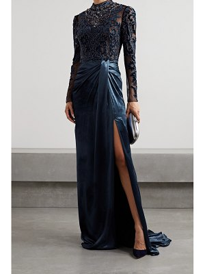 Marchesa open-back embellished velvet and tulle gown