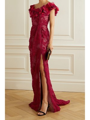 Marchesa organza and corded lace gown