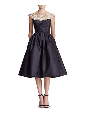 Marchesa Pearl-Beaded Yoke Cap-Sleeve Fit-and-Flare Taffeta Cocktail Dress
