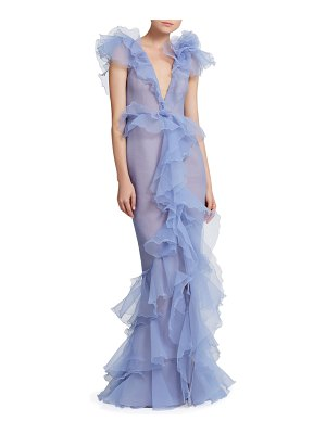 Marchesa Pebbled Organza Deep V-Neck Draped Gown