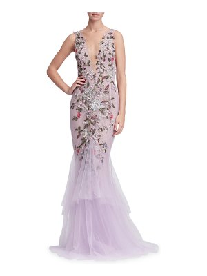 Marchesa Plunging V-Neck Sleeveless Floral-Embroidered Tulle Evening Gown