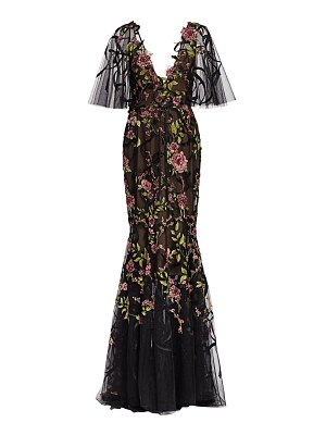 Marchesa re-embroidered floral tulle gown