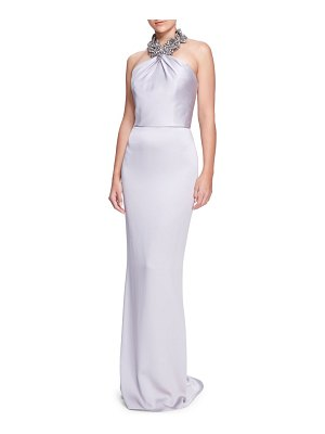 Marchesa satin halter column gown