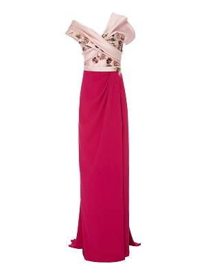 Marchesa silk satin mikado strapless column gown