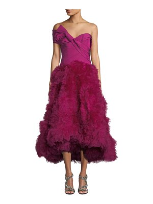 Marchesa Strapless Bowed-Bodice Tufted-Organza Skirt Midi Gown