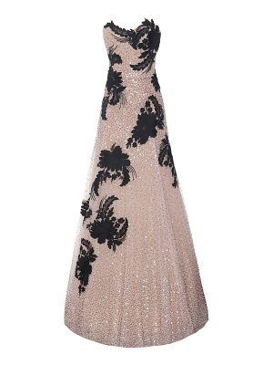 Marchesa strapless embellished tulle gown