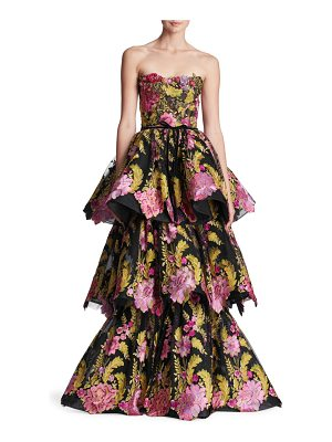 Marchesa strapless tiered floral gown