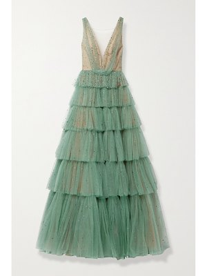Marchesa tiered crystal-embellished tulle gown