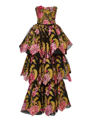 Marchesa tiered floral embroidered gown