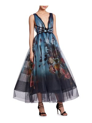 Marchesa V-Neck Sleeveless Floral-Print Ombre Tulle Evening Gown
