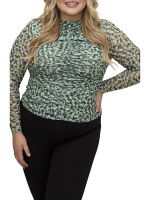 Maree Pour Toi print ruched long sleeve mesh top