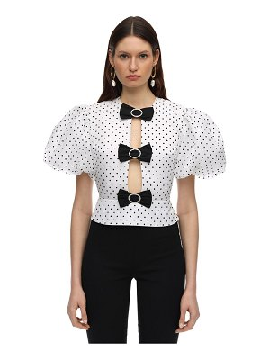 Marianna Senchina Polka dots organza top w/ puff sleeves