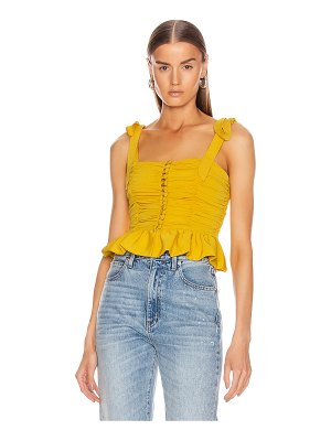 Marianna Senchina ruched button up sleeveless top