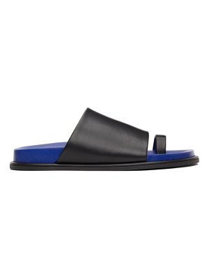 Marina Moscone black and blue flat toe strap sandals