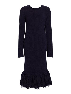 Marina Moscone bouclé knit fringe midi dress