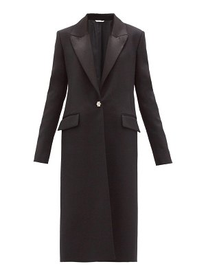 Marina Moscone crystal-button grain-de-poudre coat