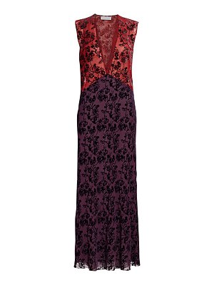 Marina Moscone floral burnout velvet maxi dress