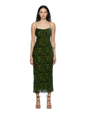 Marina Moscone green velvet burnout bias slip dress
