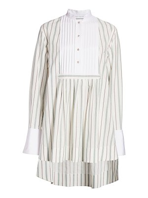 Marina Moscone high-low pinstripe shirtdress