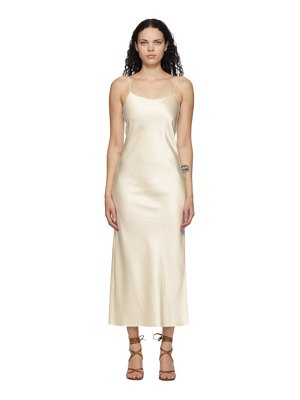 Marina Moscone off-white heavy satin bias slip dress