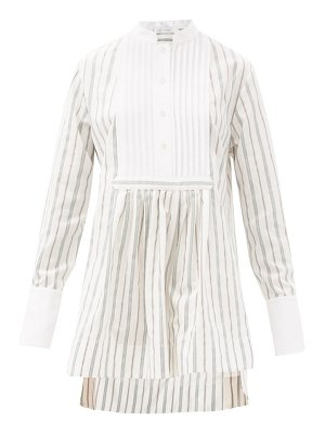 Marina Moscone striped cotton-blend tunic shirt