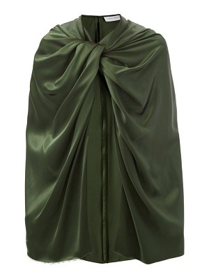 Marina Moscone twist-shoulder satin cape