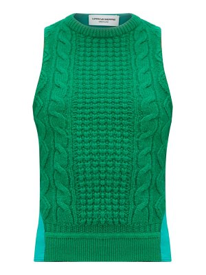 MARINE SERRE cable-knit wool-panelled top