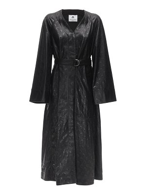 MARINE SERRE Maxi moon embossed leather trench coat