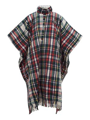 MARINE SERRE reversible hooded plaid and lamé poncho