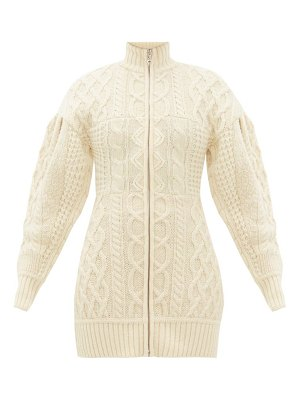 MARINE SERRE roll-neck cable-knit wool sweater dress