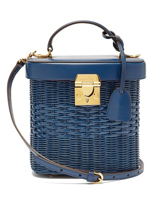 Mark Cross benchley rattan and leather shoulder bag