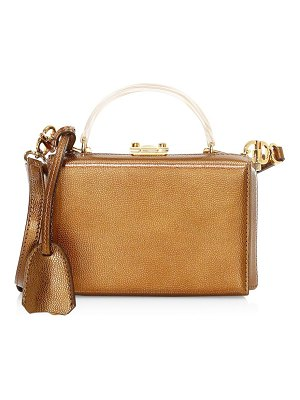 Mark Cross metallic handle leather top handle box bag